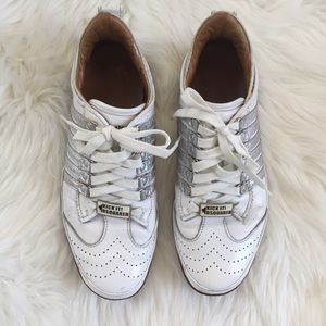Dsquared White And Silver Striped Sneakers Size 10